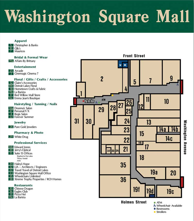 washington square mall mall directory store directory